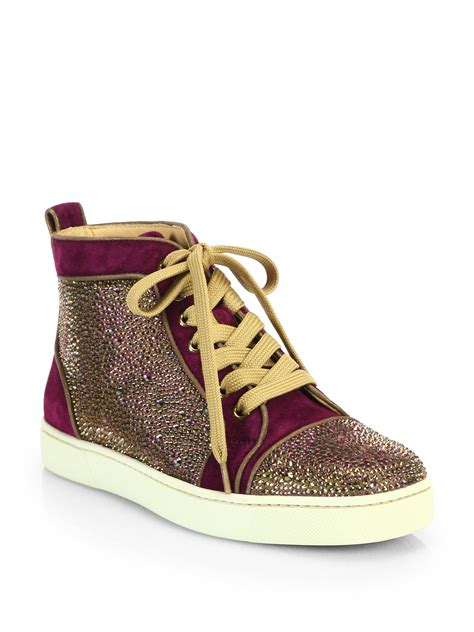 louboutin sneakers christian louboutin louis velour high top sneakers