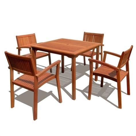 5 Piece Wood Patio Dining Set V1104set1 Wooden Patio Dining Set