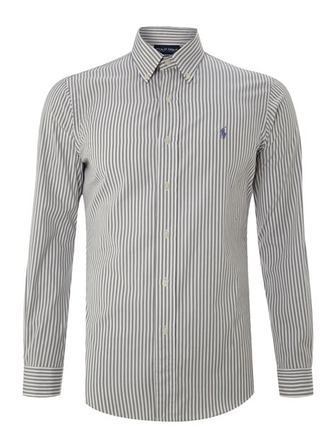 polo grey stripe shirt polo ralph golf sleeved striped shirt in gray