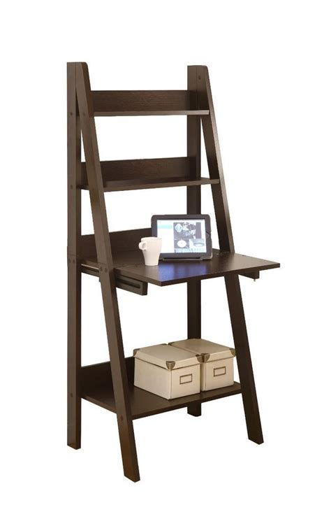 Ladder Bookcase Desk Monarch Specialties High Ladder Bookcase With A Drop Desk 61 Inch Brown