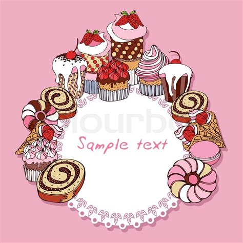 Retro card background with cakes, vintage frame