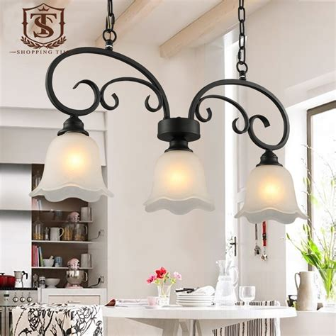 Wrought Iron Dining Room Light Fixtures by Country Style Dining Room Pendant L Black Wrought Iron And Glass Shade Hanging Lighting E27