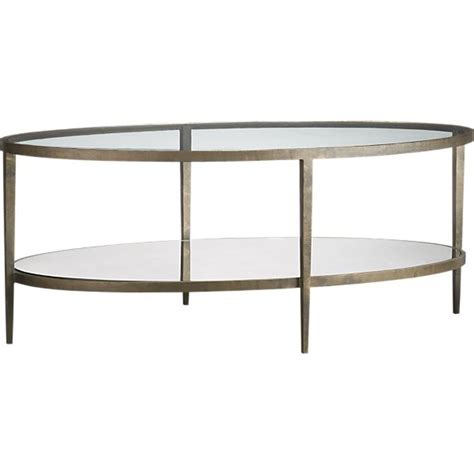 oval glass and metal coffee table