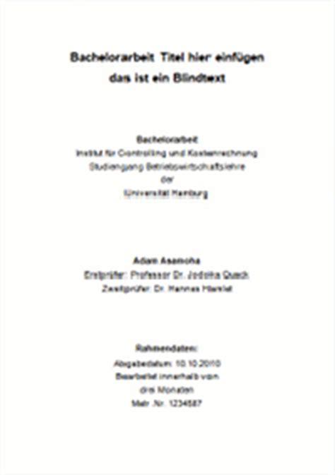 Bewerbung Heidelberg Medizin Gestaltung Und Inhalt Des Deckblattes Einer Bachelorarbeit