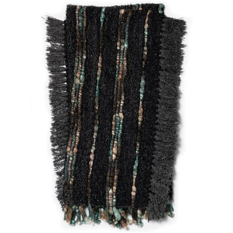 Handcrafted Modern - charcoal black modern handcrafted throw blanket woodwaves
