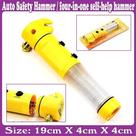 Four In One Multifunctional Car Safety Hammer Led Flashlight auto safety hammer four one self help hammer wholesale auto safety hammer four in one self