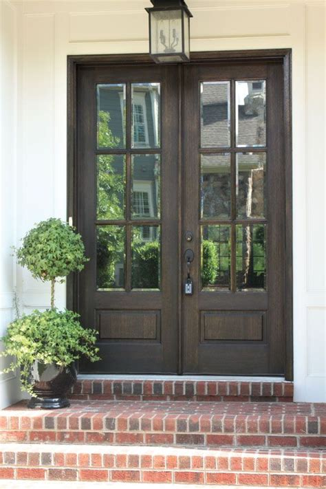 Wood Glass Front Door Alexandria Tdl 6lt 8 0 Door W Clear Beveled Glass Square Top Doors