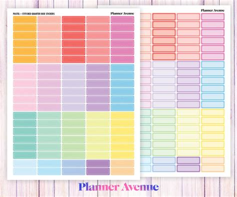 printable planner boxes quarter box printable planner sticker stitched blank round