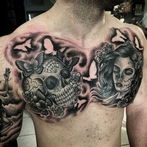 chest tattoo backgrounds the burton tattoo collective added some background to