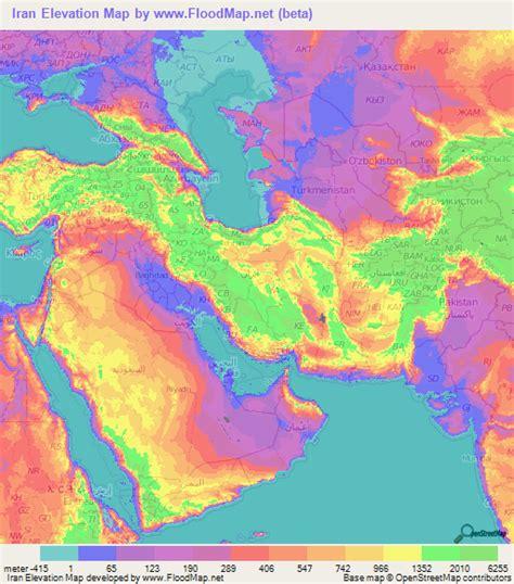 iran elevation  elevation maps  cities topographic