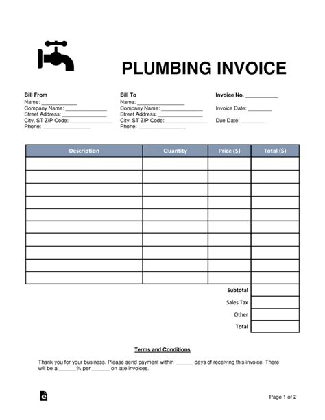 Free Plumbing Invoice Template Word Pdf Eforms Free Fillable Forms Free Plumbing Templates