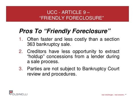 ucc section 9 distressed asset sales both in bankruptcy and out of court