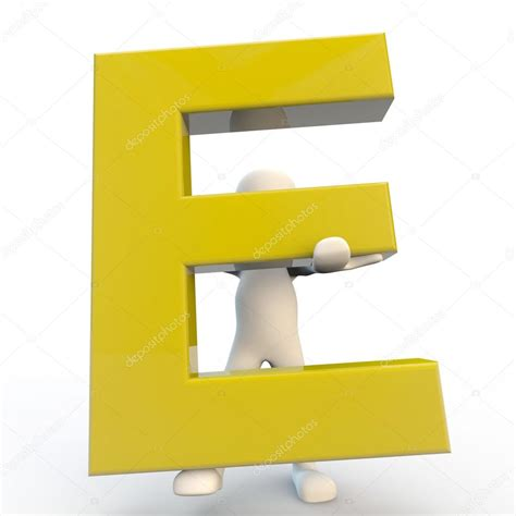 Character Holding Letter 3d human character holding yellow letter e stock photo