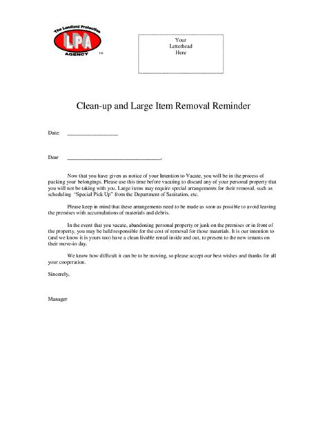 up letter read out move out reminder letter to tenant docoments ojazlink