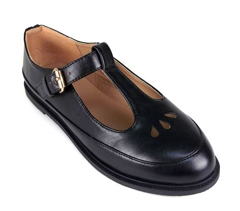 t bar school shoes gold buckle t bar cut out school