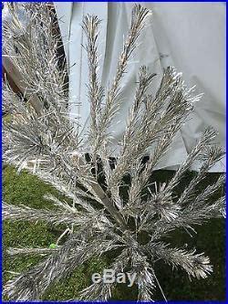 vintage peco 6 ft christmas pine aluminum silver pom pom
