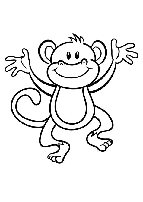 easy monkey coloring page coloring pages of monkeys printable activity shelter