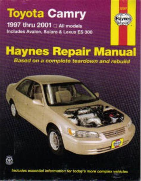 auto manual repair 1997 toyota camry user handbook haynes toyota camry avalon solara lexus es 300 1997 2001 auto repair manual