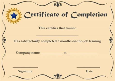 ojt certificate of completion template ojt certificate of completion sle format certificate