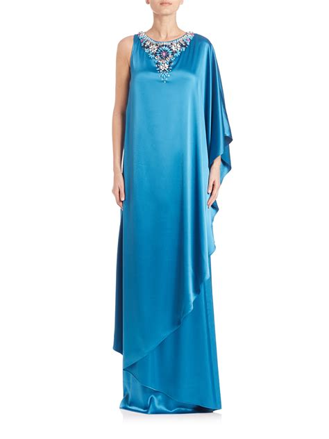 one shoulder beaded gown st beaded one shoulder satin gown in blue lyst