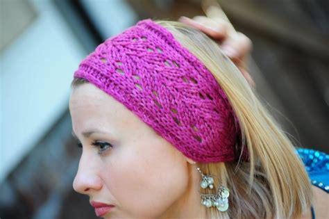 knit lace headband pattern you to see pink lace headband by niseyknits