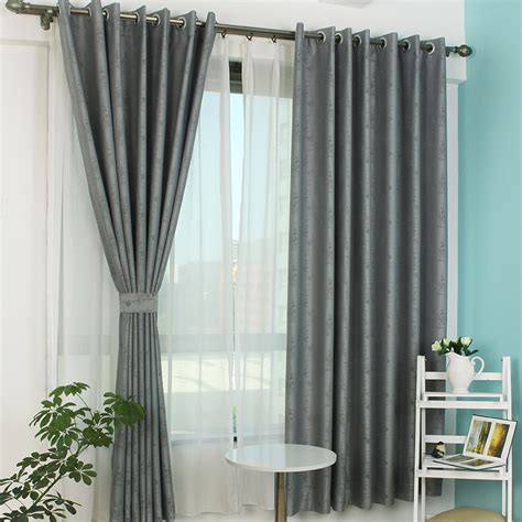 Grey Curtains For Bedroom Gray Polyester Jacquard Blackout Curtain For Bedroom