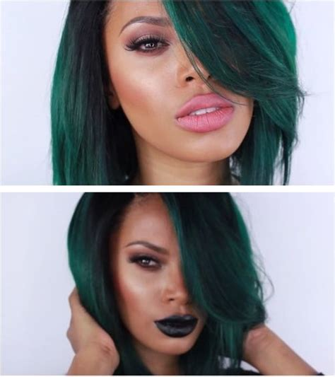 hairstyles done on a mannequin with green hair black girl with straight green hair falling over her