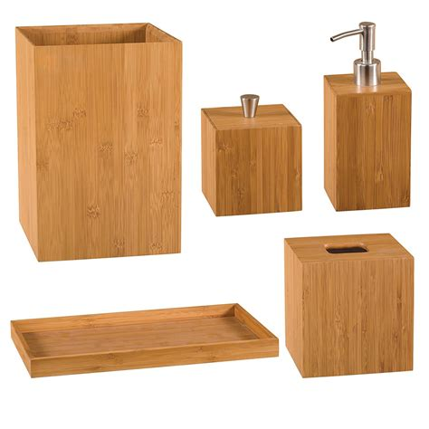Bathroom Sets And Accessories 5pc Bathroom Set Lotion Dispenser Cotton And Tissue Box Waste Bin W Tray Bamboo
