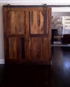 Custom Made Hickory Farm sliding barn doors contemporary living room boise