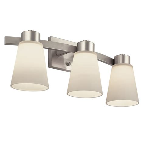 lowes bathroom lighting brushed nickel portfolio 3 light brushed nickel bathroom vanity light
