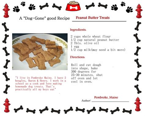 puppy treat recipes peanut butter treats recipe all the way from pembroke maine about