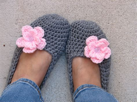 crochet slippers crochet slippers grey with pink flower