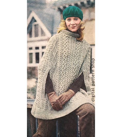 knitting patterns womens poncho vintage 1970s knit cape pattern womens aran poncho