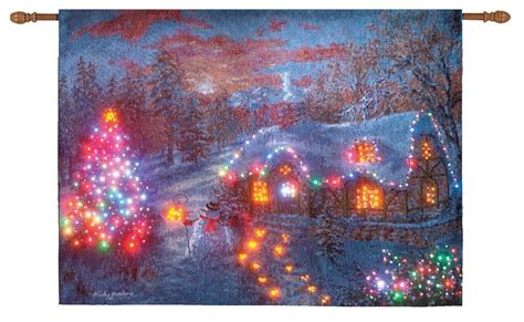 christmas cottage fiber optic lighted wall hanging