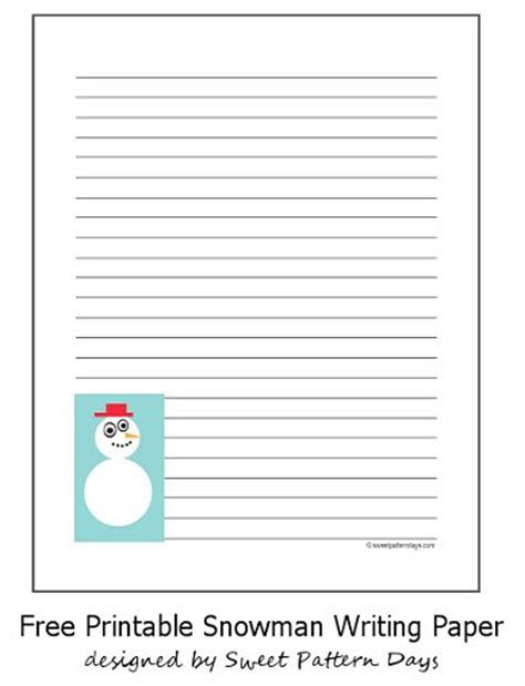 snowman writing paper printable snowman lined writing paper printables