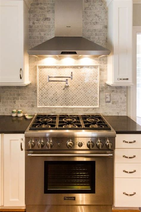Kitchen Stove Backsplash Gorgeous White Kitchen Renovation Stove Pot Filler And Marble Subway Tiles