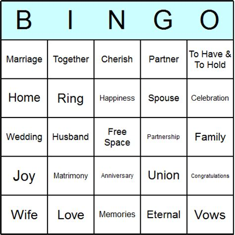 wedding bingo card template wedding anniversary bingo cards printable bingo activity
