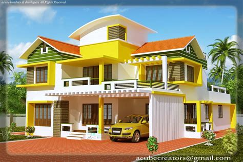 kerala duplex house elevation at 2700 sq ft