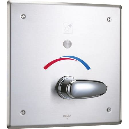 delta  chrome push button hardwire metering electronic shower system   control box