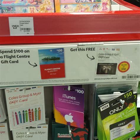 Rebel Gift Card Coles - buy 100 flight centre gift voucher get free 10 coles myer voucher coles ozbargain