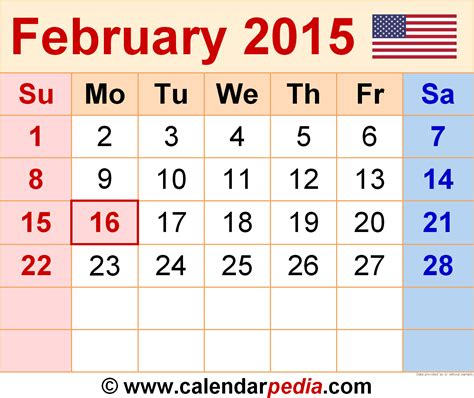 Kalender 2015 Februar February 2015 Calendars For Word Excel Pdf