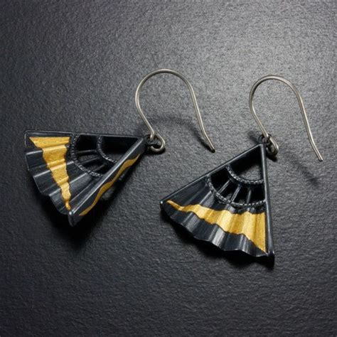 Japanese Handmade Jewelry - japanese earrings keum boo earrings oxidized silver