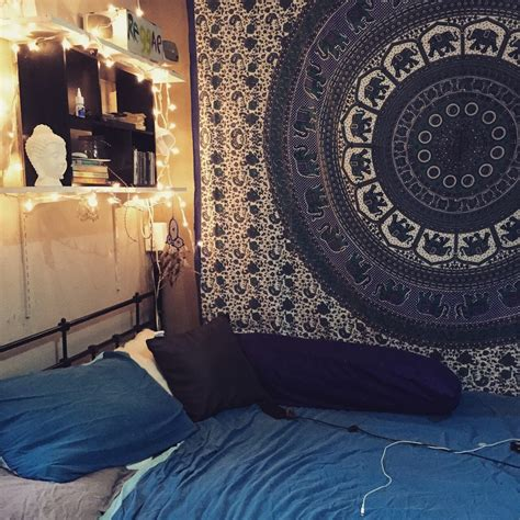 blue hippie floral mandala tapestry bedspread bed cover