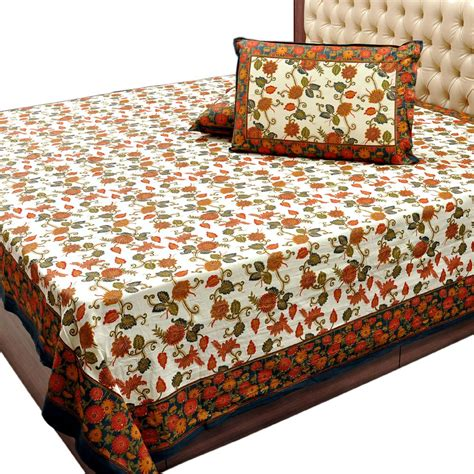 double bed sheets floral design gold print double bed sheet set 317 online shopping 0