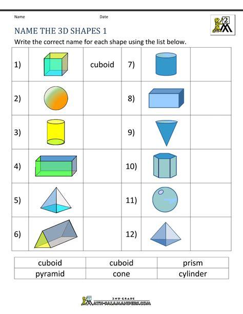 shapes worksheet with names 3d shapes worksheets 2nd grade