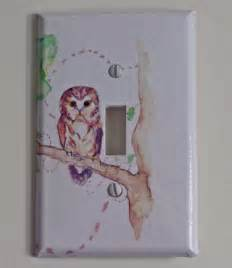 owl on a branch decorative light switch cover plate by