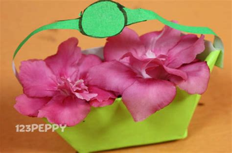 How To Make Paper Flower Basket - crafts project ideas with tutorials 123peppy