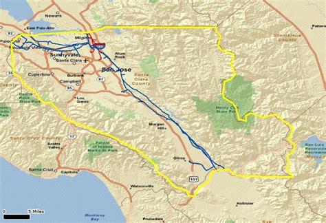 santa clara california map mountains of santa clara county california