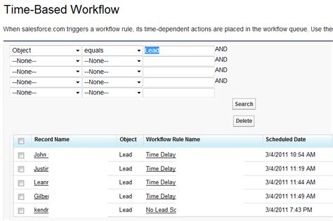 workflow monitoring salesforce workflow time dependent delay based rule