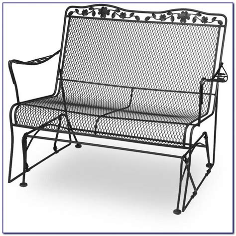 iron glider bench wrought iron patio glider bench bench home decorating ideas g2ymggrozx